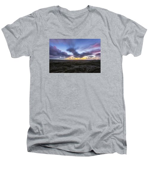 Men's V-Neck T-Shirt featuring the photograph Lava Twilight by Ryan Manuel