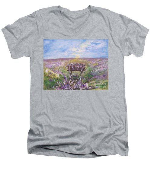 Men's V-Neck T-Shirt featuring the painting Lavendar Wishes by Leslie Allen