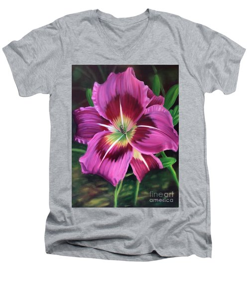 Lavender Daylily Men's V-Neck T-Shirt