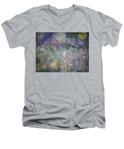 Lavender Fairies Men's V-Neck T-Shirt by Judith Desrosiers
