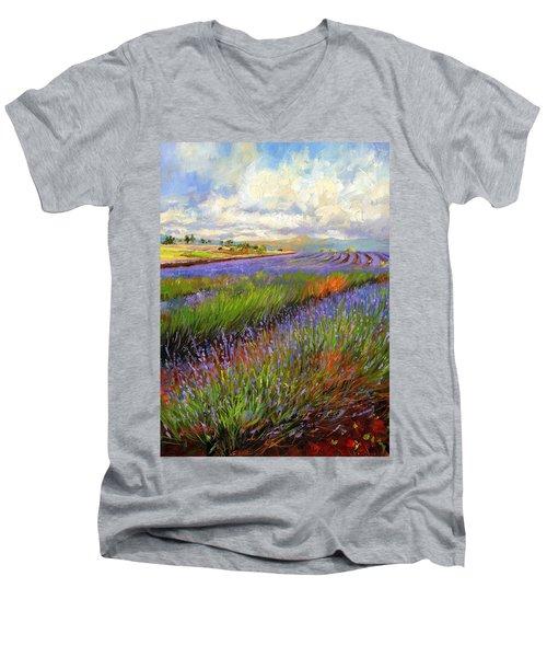 Lavender Field Men's V-Neck T-Shirt by David Stribbling