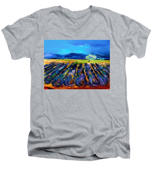 Lavender Field Men's V-Neck T-Shirt