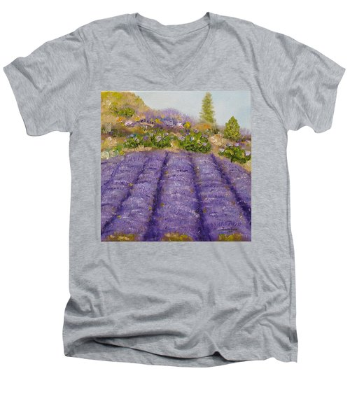 Lavender Field Men's V-Neck T-Shirt by Judith Rhue