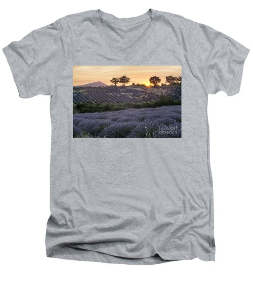 Men's V-Neck T-Shirt featuring the photograph Lavender Field Provence  by Juergen Held