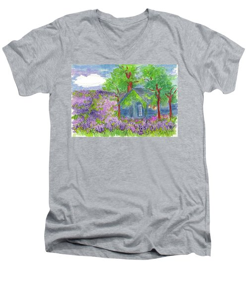 Men's V-Neck T-Shirt featuring the painting Lavender Fields by Cathie Richardson