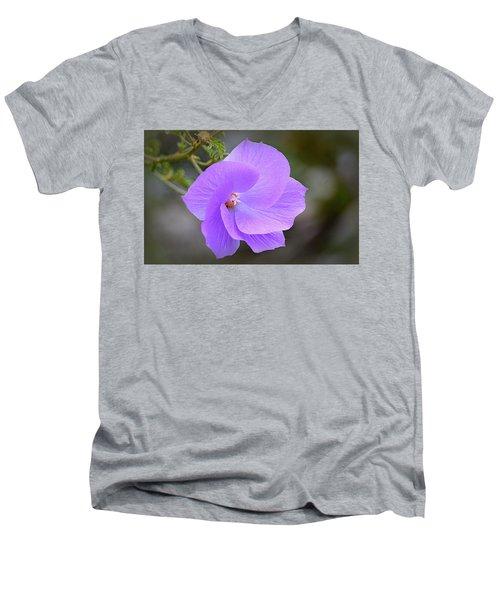 Men's V-Neck T-Shirt featuring the photograph Lavender Flower by AJ Schibig