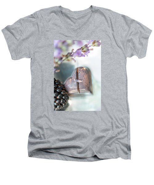 Men's V-Neck T-Shirt featuring the photograph Lavender Heart by Sabine Edrissi