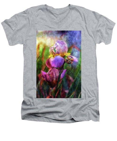 Lavender Iris Impression 0056 Idp_2 Men's V-Neck T-Shirt