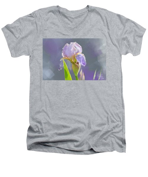 Lavender Iris In The Morning Sun Men's V-Neck T-Shirt by Debra Baldwin