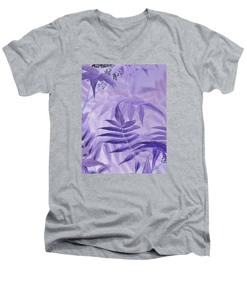 Lavender Leaves  Men's V-Neck T-Shirt by Sandra Foster