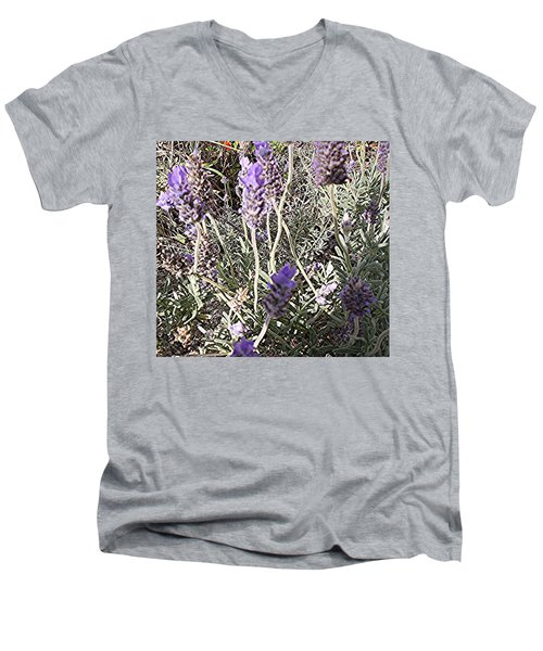 Men's V-Neck T-Shirt featuring the digital art Lavender Moment by Winsome Gunning