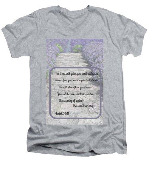 Lavender Path With Scripture Art Isiah 58 Men's V-Neck T-Shirt