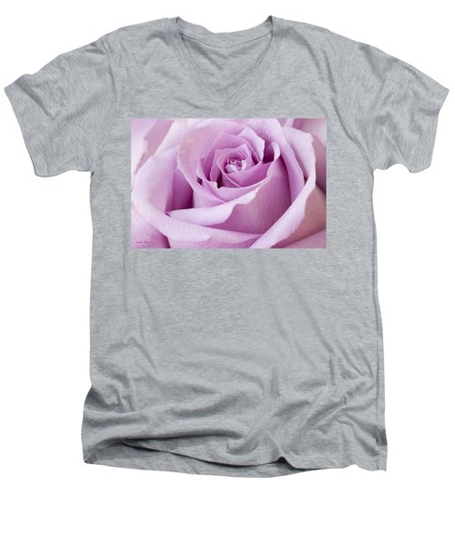 Lavender Rose Just About Perfect  Men's V-Neck T-Shirt by Sandra Foster