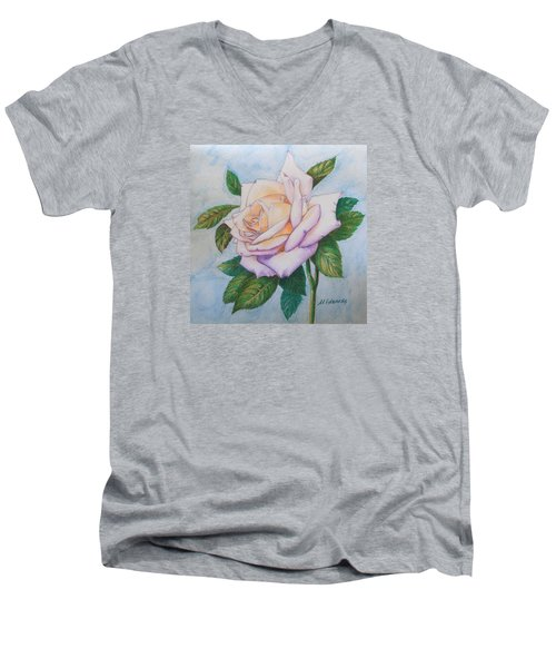 Lavender Rose Men's V-Neck T-Shirt by Marna Edwards Flavell