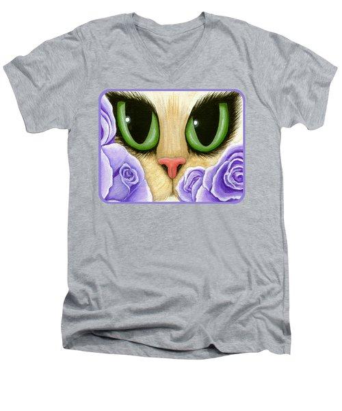 Lavender Roses Cat - Green Eyes Men's V-Neck T-Shirt