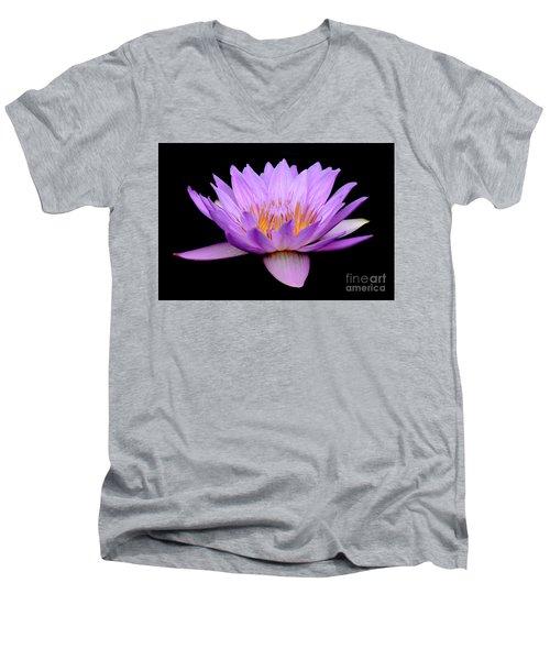 Lavender Tropical Day Lily Men's V-Neck T-Shirt