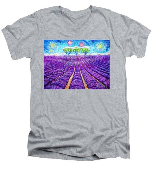 Lavender Men's V-Neck T-Shirt by Viktor Lazarev