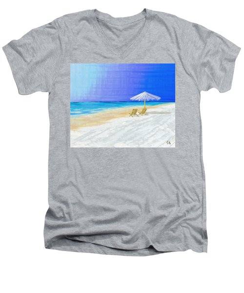 Lawn Chairs In Paradise Men's V-Neck T-Shirt by Jeremy Aiyadurai