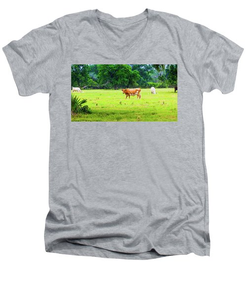 Lazy Afternoon In The Life Of A Cow Men's V-Neck T-Shirt