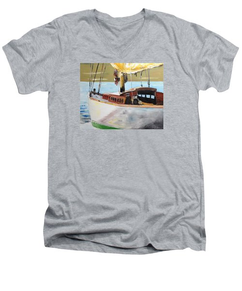 Men's V-Neck T-Shirt featuring the painting Lazy Sloop by Stan Tenney