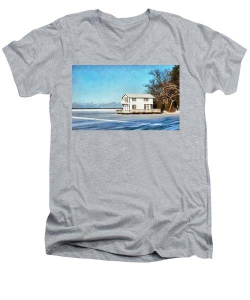Leacock Boathouse In Winter Men's V-Neck T-Shirt