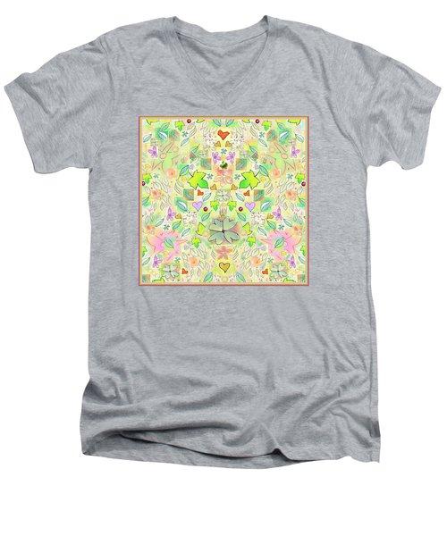 Leaf And Flower And Heart Pattern  Men's V-Neck T-Shirt