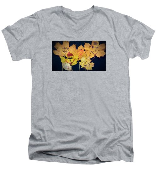 Leaf Family Men's V-Neck T-Shirt by Jana E Provenzano