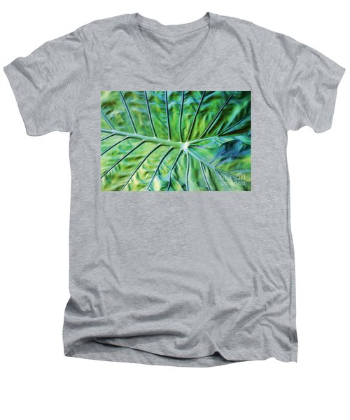 Leaf Pattern Men's V-Neck T-Shirt by Teresa Zieba