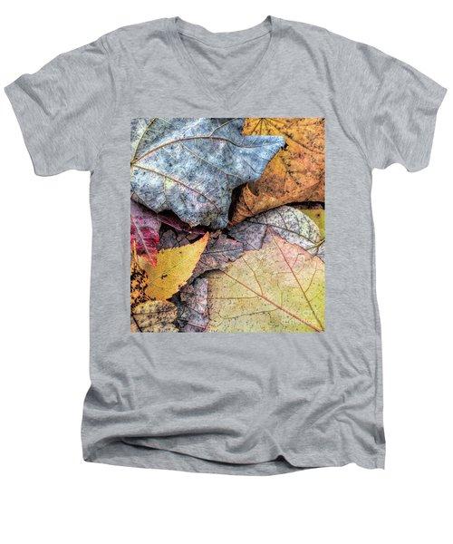 Leaf Pile Up Men's V-Neck T-Shirt by Todd Breitling