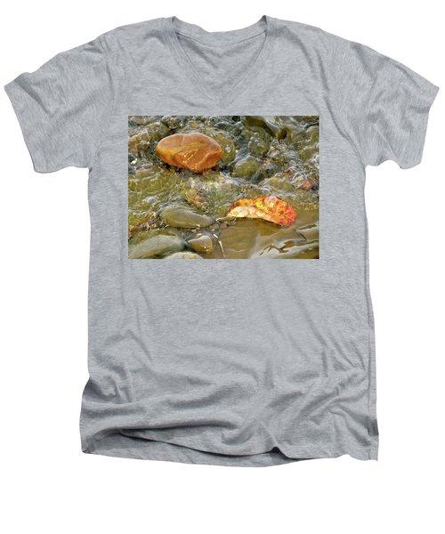 Leaf, Rock Leaf Men's V-Neck T-Shirt