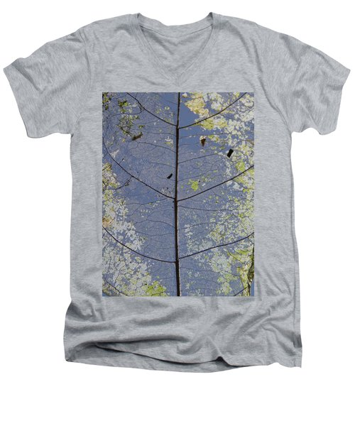 Men's V-Neck T-Shirt featuring the photograph Leaf Structure by Debbie Cundy