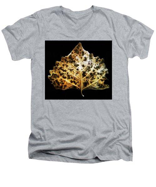 Leaf With Green Spots Men's V-Neck T-Shirt by Joseph Frank Baraba