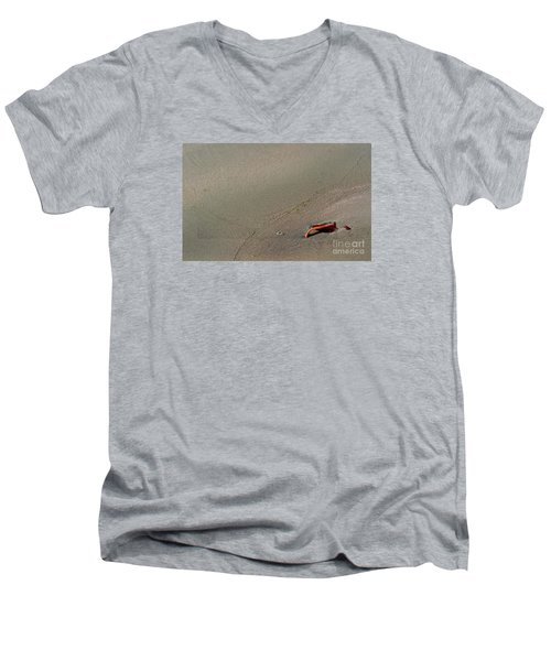 Men's V-Neck T-Shirt featuring the photograph Leafe On The Beach by Gary Bridger