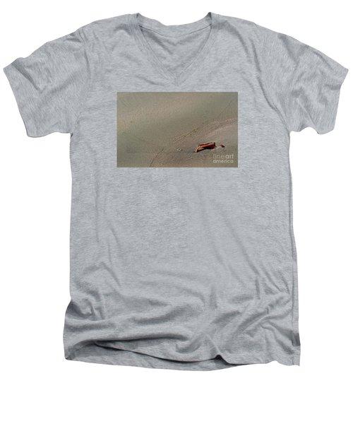 Leafe On The Beach Men's V-Neck T-Shirt by Gary Bridger