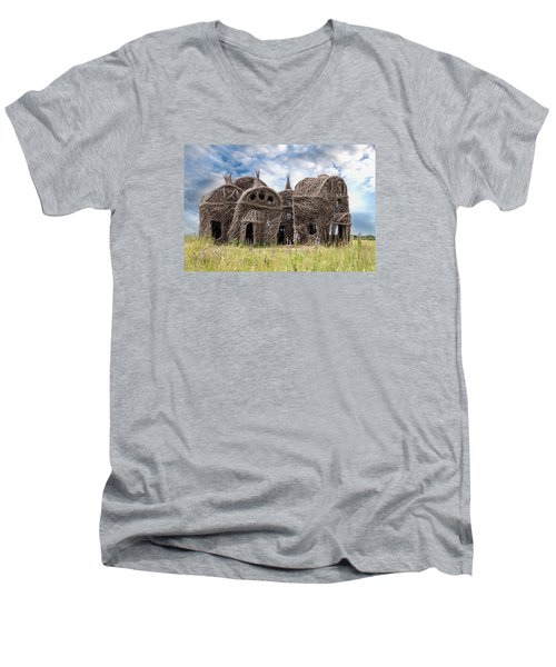 Lean On Me - Stick House Series 1/3 Men's V-Neck T-Shirt by Patti Deters