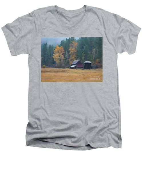 Leaning Into Winter Men's V-Neck T-Shirt