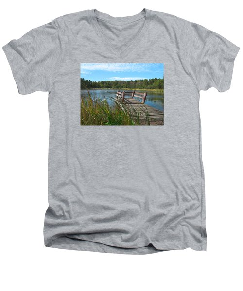 Leaning Pier At Pine Lake Men's V-Neck T-Shirt by Cedric Hampton