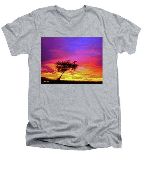 Leaning Tree At Sunset Men's V-Neck T-Shirt