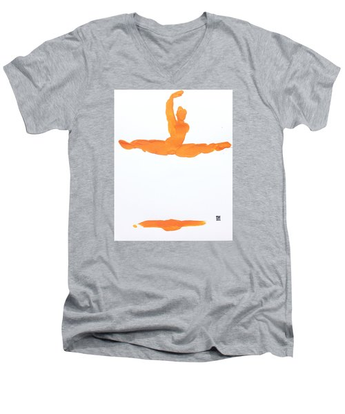 Leap Brush Orange 1 Men's V-Neck T-Shirt by Shungaboy X