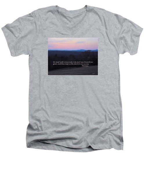 Leap In The Dark Men's V-Neck T-Shirt by Deborah Dendler