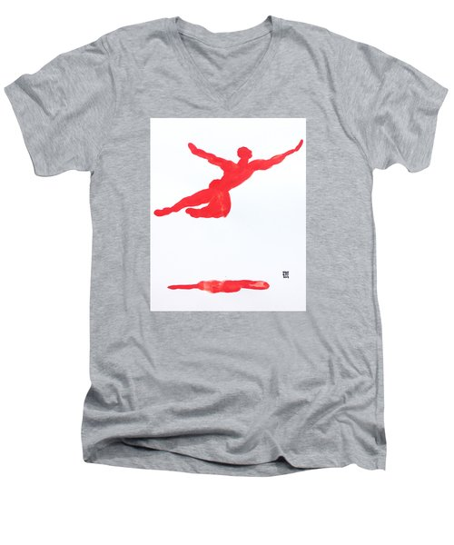 Leap Water Vermillion Men's V-Neck T-Shirt