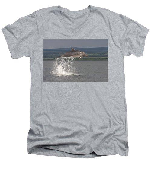 Leaping Bottlenose Dolphin  - Scotland #39 Men's V-Neck T-Shirt