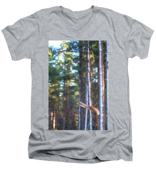 Leaping Red Squirrel Tall Men's V-Neck T-Shirt
