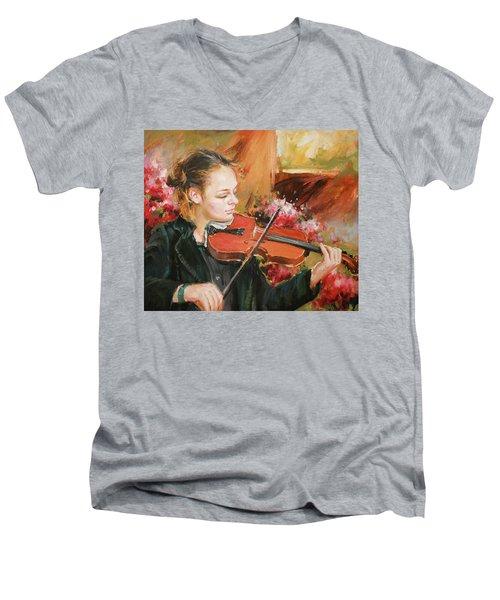 Learning The Violin Men's V-Neck T-Shirt