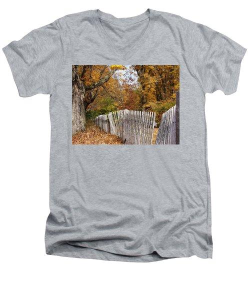 Leaves Along The Fence Men's V-Neck T-Shirt by Lois Lepisto
