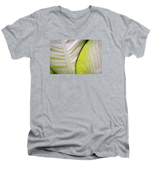 Leaves In White Men's V-Neck T-Shirt