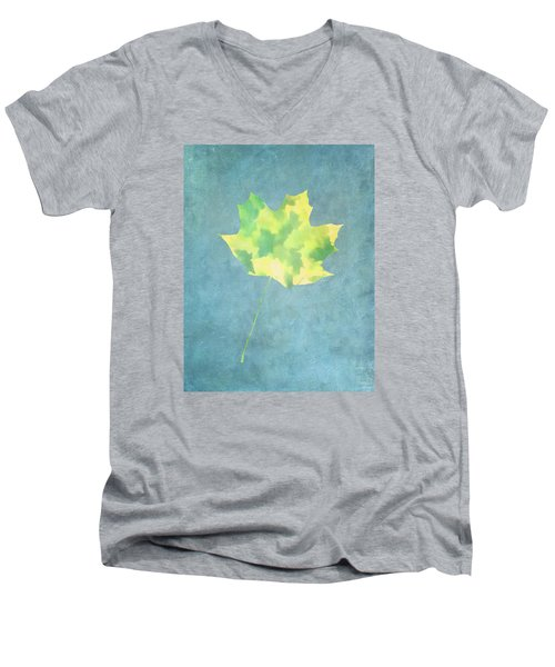 Leaves Through Maple Leaf On Texture 1 Men's V-Neck T-Shirt by Gary Slawsky