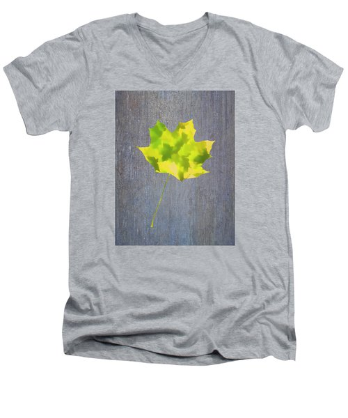 Men's V-Neck T-Shirt featuring the photograph Leaves Through Maple Leaf On Texture 2 by Gary Slawsky