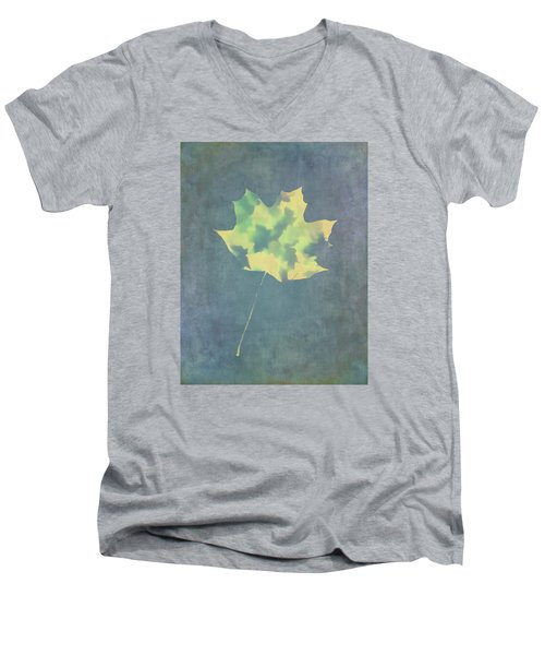 Men's V-Neck T-Shirt featuring the photograph Leaves Through Maple Leaf On Texture 3 by Gary Slawsky