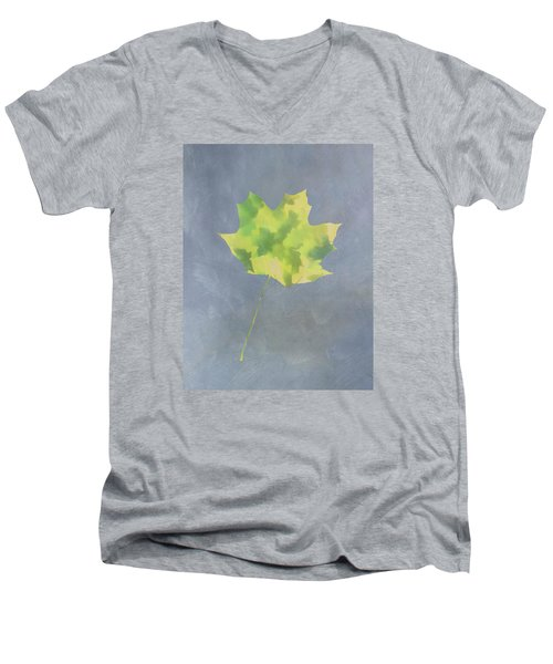 Men's V-Neck T-Shirt featuring the photograph Leaves Through Maple Leaf On Texture 4 by Gary Slawsky